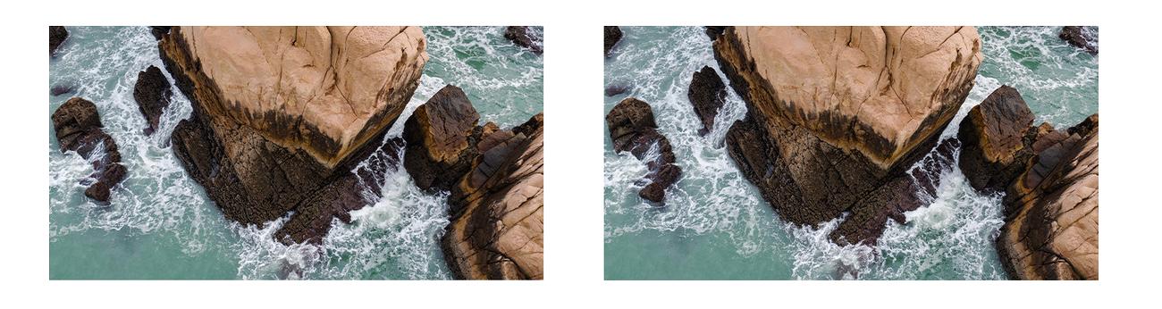 фото сравнения изображения без и с поляризационным фильтром PGYTECH OSMO Action