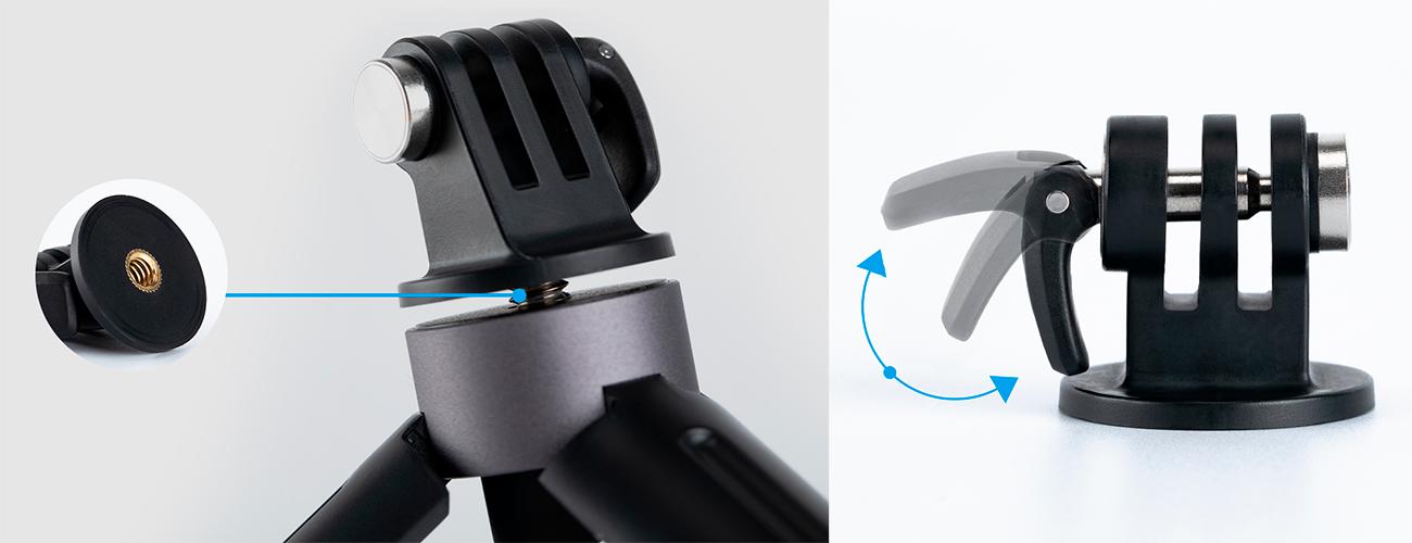 фото регулировки положения камеры на адаптере на штативную резьбу для экшн-камер PGYTECH