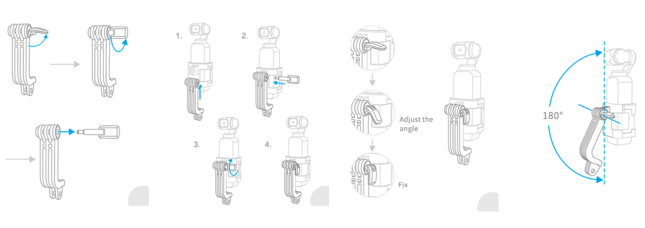 фото установки L-образного адаптера PGYTECH для экшн-камеры