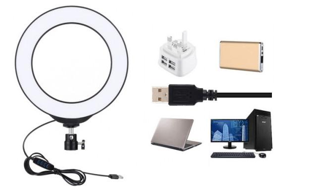 фото вариантов подключения кольцевой лампы к USB