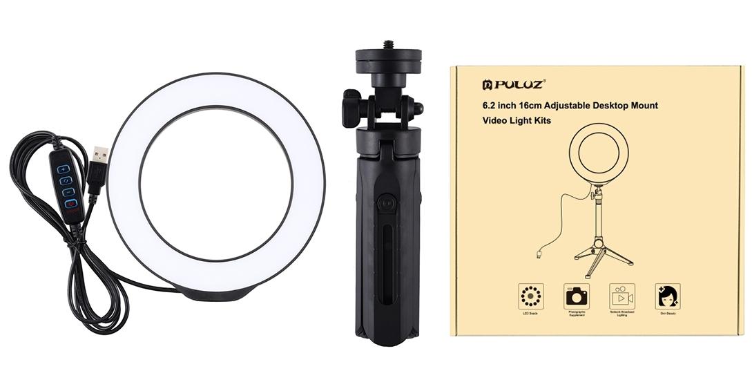 изображение комплекта поставки настольной кольцевой лампы Puluz PKT3059B