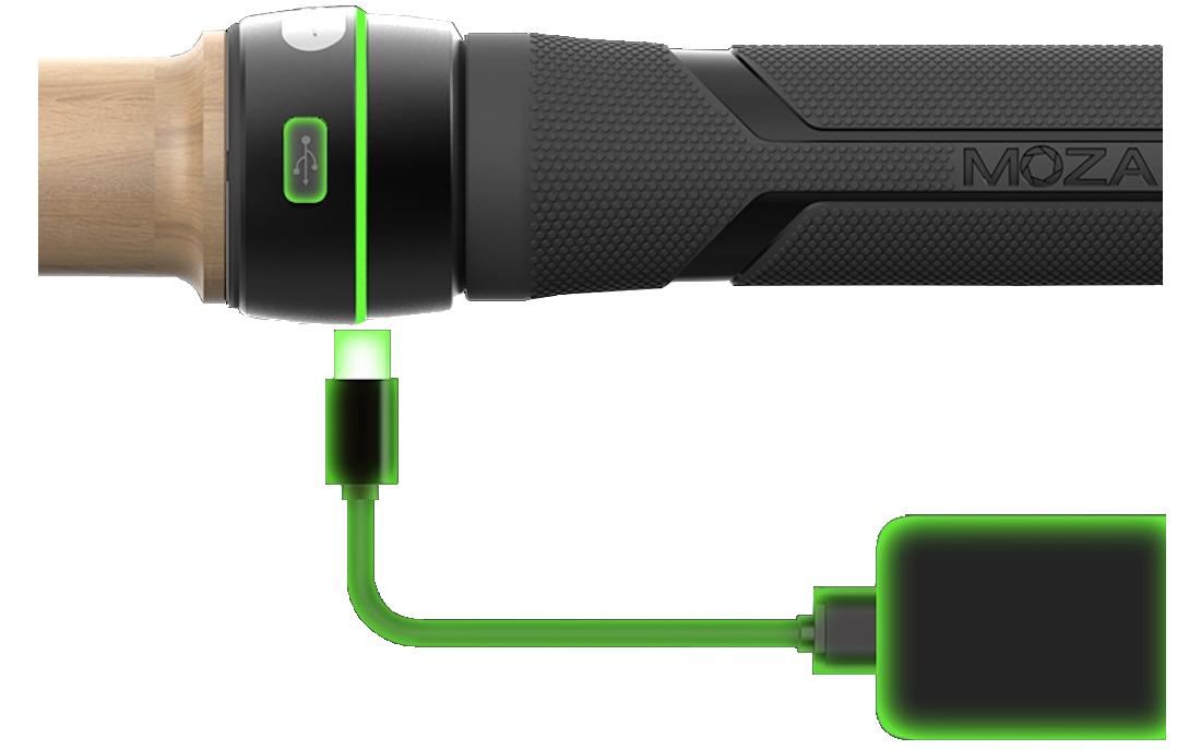 фото підключеного повербанка до слайдер для камери MOZA Slypod