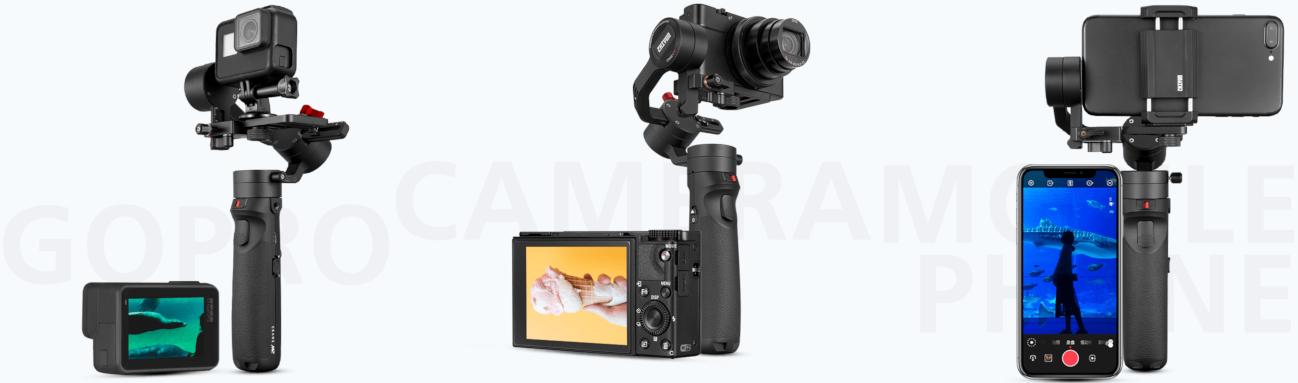 фото Zhiyun Crane M2 с камерами, телефонами и экшн-камерами