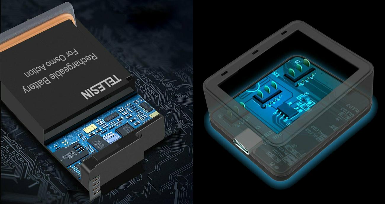 фото зарядка и аккумулятор DJI OSMO Action